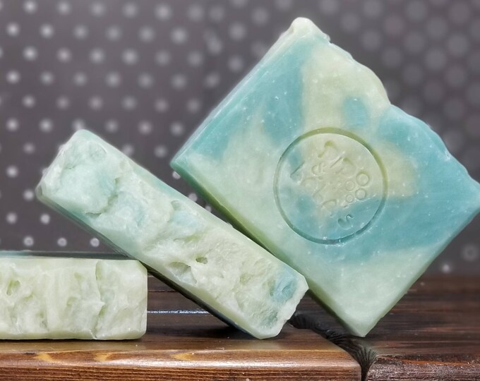 "Cucumber Mint Scented Soap ""Mercutio"" Soap Goddess Loves Shakespeare Soap, vegetarian, lightly scented, yogurt soap, free shipping"