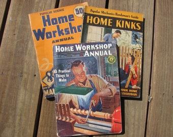 Vintage Magazines, Vintage Popular Science, Popular Mechanics, and Home Workshop Annual, Set of 3