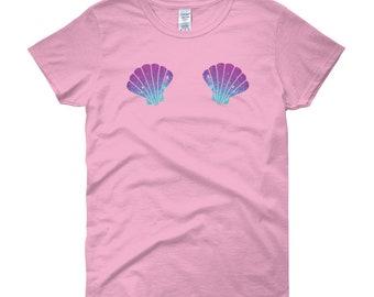 kleine meerjungfrau-shirt muschel-bh top hemd damen ariel