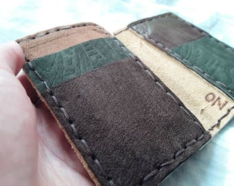large recycled leather card case