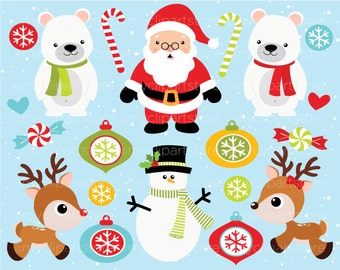 Clipart - It's Christmas! / Santa - Digital Clip Art (Instant Download)