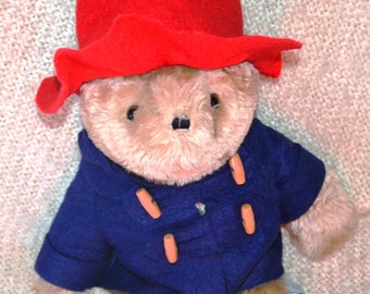 "PADDINGTON BEAR, Meas.141/2"", VINTAGE 1975-81, Authentic outfit, Big Glassy Eyes, Blk.Fuzzy Ears, Brown Padded Feet"