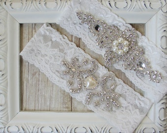 "Wedding garter - Lace Vintage Garter Set w/ ""Pearls"" and Rhinestones on Comfortable Lace, Wedding Garter Set, Crystal Garters, Prom Garter"