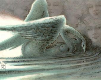 Saint Francis - Genius - Swan - lithograph