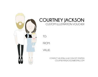 Gift Voucher for 1 x A4 Custom Colour Couples Illustration + Shipping