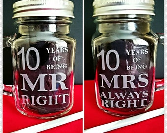 Pair of Engraved Mason Drink Jars - Anniversary Gift - design can be changed
