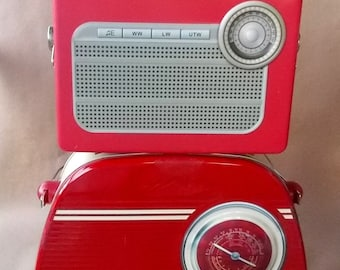 2 Retro Radio Metal Tin Lunchboxes Both In VG Condition
