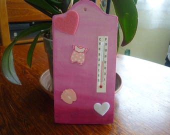 Special birthday gift - thermometer wooden decorated for baby girl's room