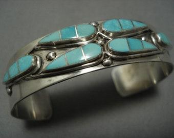 Incredible Vintage Zuni Native American Navajo Sterling Silver Turquoise Bracelet