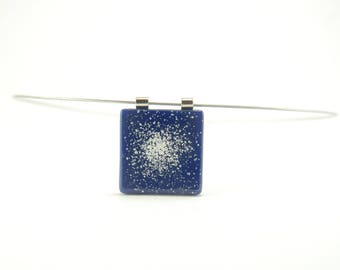 Glow-in-the-dark small dark blue planetary nebula necklace, science gift for her, deep cobalt blue and white fused glass square pendant