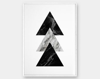 Marble Wall Art, Geometric Prints, Triangles Art, Modern wall art, Scandinavian poster, Printable Art, Marble Prints, Geometric Art