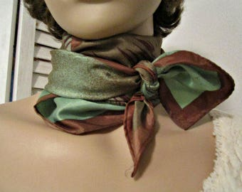 Vintage Scarf, Womens accessories, Antelope print scarf, Green brown scarf