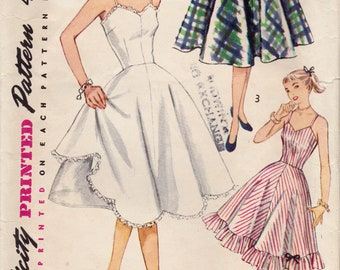 Vintage 1951 Simplicity Sewing Pattern 3766 / Junior Misses and Misses Slip and Petticoat / Size 12 Bust 30
