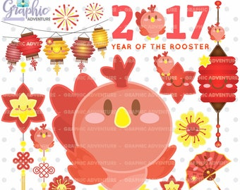 Chinese New Year Clipart, COMMERCIAL USE, Chinese New Year of the Rooster Clipart, New Year of the Rooster Clipart, Rooster Graphic