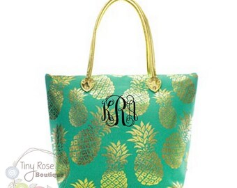 Monogrammed Mint Gold Pineapple Tote - Large Personalized Tote Bag, Canvas Bag