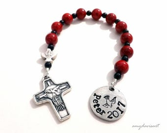 Unique Confirmation Gift, Catholic Rosary, Confirmation Gift for Boys, Confirmation Rosary, Personalized Confirmation Gift Idea, Red Rosary