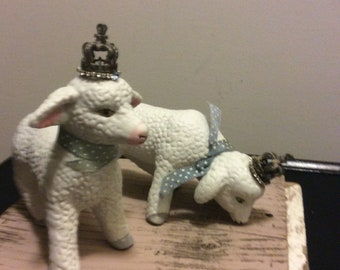 Vintage Pair of Ceramic Lambs Shabby Chic Figurine Lamb with Metal Crown Rhinestones Accents Nursery Decor Baby Shower Gift Collectible Keep