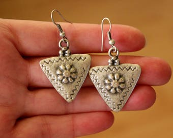 Geometric Earrings, Triangle Earrings, Ethnic Earrings, Bohemian Earrings, Boho Earrings, Kuchi Earrings, Tribal Earrings, Afghan Earrings