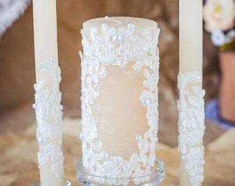 Wedding Unity Candle Set, Lace Unity Candles, Vintage Wedding Candles, Rustic Candles, Personalized Unity Ceremony Set, Church Ceremony 3pcs