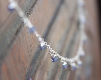 Pontevedra Dainty Dew Drop Sapphire September Birthstone Necklace on Sterling Silver Chain - Or Customize for Your Wedding
