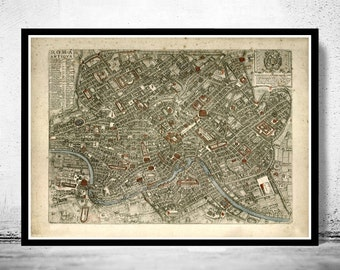 Vintage Map of Rome Roma Italia 1773 Antique map of Rome