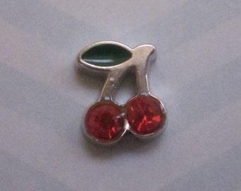 Cherry Charm for Memory Locket, Glass Locket