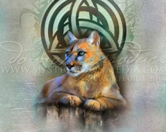 Art Retirement SALE/ Celtic Cougar / Triquetra / Pagan Art / Fantasy Art / Wiccan Art / Celtic Knot / Celtic Art