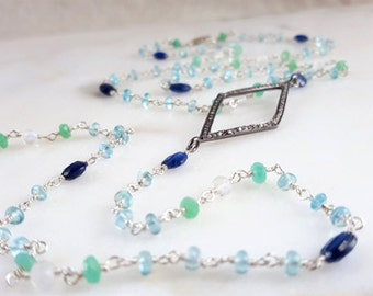 "Pave Diamond and Multi Gemstone 18"" Kite Necklace with Long Chain Tail in Moonstone Kyanite Apatite and Chrysoprase Fine Jewelry Life Bijou"
