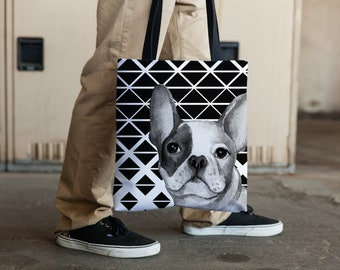 French Bulldog Graphic Tote Bag, Frenchie Mom, French Bulldog Mom, Mothers Day Gift, Frenchie Carry All, French Bulldog Carry All