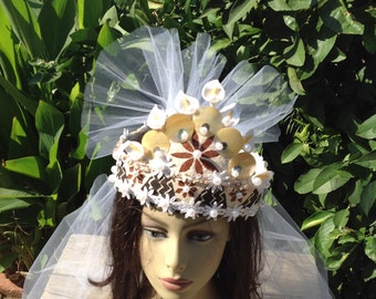 Polynesian Authentic Tapa Cloth, Mother Of Pearls & Pearls WEDDING CROWN With A Detachable Veil.. Polynesian Princess Wedding Crown!!!