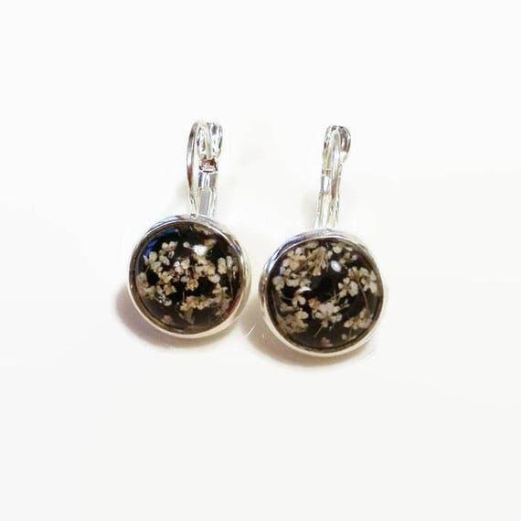 Bridal earrings silver Real flower dangle drop earrings Round bridal earrings Crystal earrings Bridesmaid gift Round earring Nature earrings