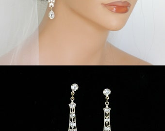 Gold Filigree Wedding Earrings Art Deco Vintage style Long Thin Dangle Earrings with Crystal Teardrop MARCELLA CRYSTAL