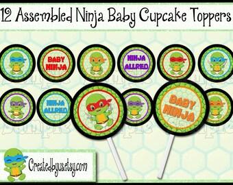 Baby Ninja Cupcake Toppers Turtle Baby boy shower Decorations Custom Ninja baby favors cupcake picks topper cupcake top 12 assembled