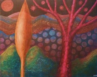 Flame Tree, Original painting.
