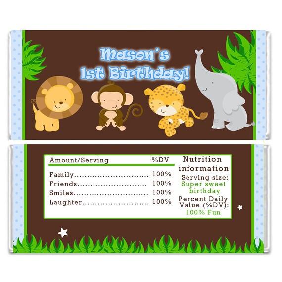 candy bar wrapper printable personalized jungle zoo safari