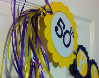 50th Birthday Decorations Party Banner  Fifty & Fabulous