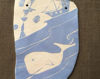 Ceramic Narwhal and Bird Tile