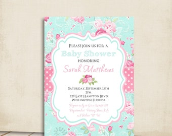 Captivating Cottage Chic Baby Shower Invitation Victorian Floral Pink And Blue Rose  Printable Custom Invite