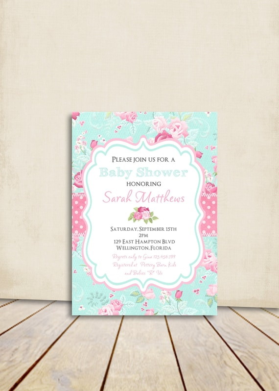 Cottage chic baby shower invitation victorian floral pink and like this item filmwisefo