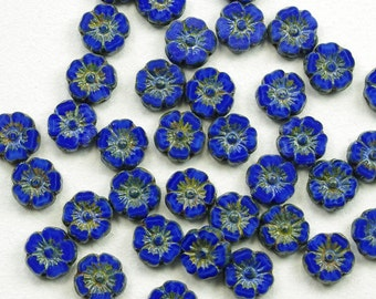 Hibiscus Flowers 9mm Opaque Satiny Royal Blue Picasso Czech Glass Beads - 12