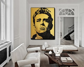 James DEAN Art Painting, Wall Art Gifts Home Decor Pop Art Original Modern Portrait Art Painting Wall Art Mural Acrylic Painting Modern