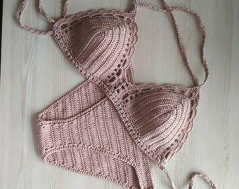 Beige swimsuit, Beige crochet bikini, Knitted swimsuit, Knitted swimwear, Beige bikini, Crochet beige Bikini