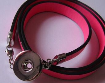 pressure bracelet, for pressure 18mm / 20mm, 3 rows, neon pink