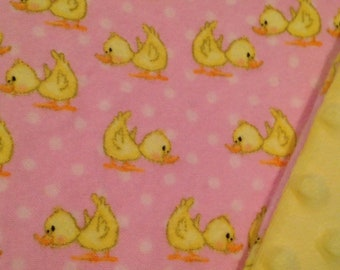 "Receiving Blanket | Pink & Yellow Blanket | Ducks Blanket | Flannel Blanket |Baby Blanket | Flannel and Plush Nubby Dot Fleece | 32"" x 40"""
