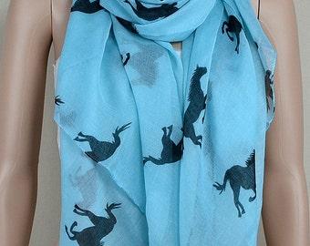 Blue cotton scarf, black pony printed scarf, scarf, shawl