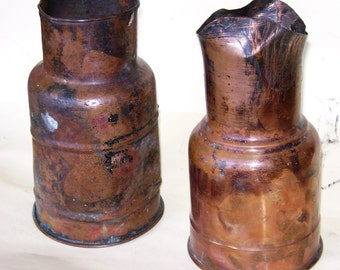 Pair of antique copper containers