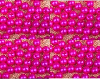 set of 100 4 mm Fuchsia acrylic beads