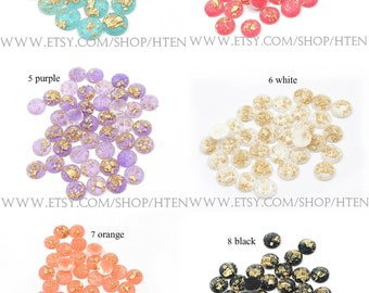 20pcs  12mm Resin Round Cabochons - 12mm resin Glitter Cabochons -12mm Resin Druzy Cabochon - DIY Resin 12mm Cabochons