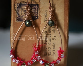 Boho-style Strung-Out guitar string hammered teardrop earrings