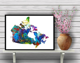 Map of Canada,  Colorful Map, Travel, Geographical Watercolor Room Decor, Poster, Wall Art, gift, Instant Download (414)